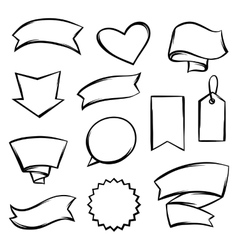 Set of black banners tags and labels vector