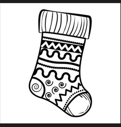sketch christmas sock vector image vector image