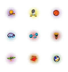Sports accessories icons set pop-art style vector image vector image