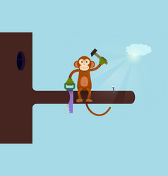 this webpage is under construction concept monkey vector image vector image