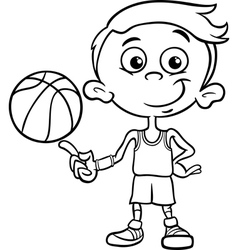 boy basketball player coloring page vector image