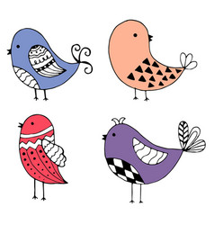 cute hand drawn collection of birds doodle design vector image vector image