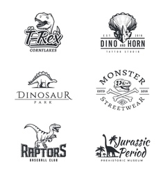 Dino logo set dinosaur logotype raptor sport vector