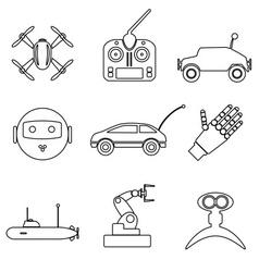 Hi-tech modern technology toys simple black vector