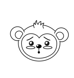 line cute wild animal face with expression vector image
