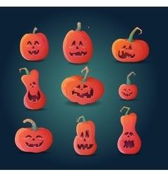 set of terrible pumpkins on a dark background vector image