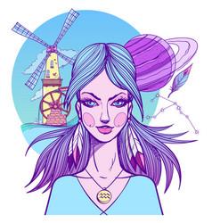 girl symbolizes the zodiac sign aquarius pastel vector image vector image