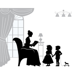 Mom reading book vector image