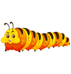 A happy caterpillar on white background vector