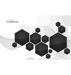 Abstract black hexagon vector image