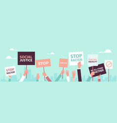 Activists holding stop racism posters racial vector