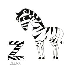 Alphabet letter z zebra children vector