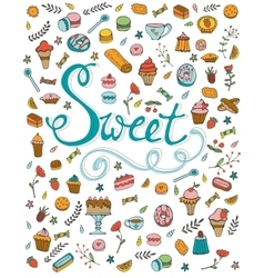 Amazing hand drawn sweets collection vector