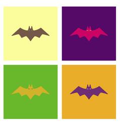 Assembly flat icons halloween bat vector