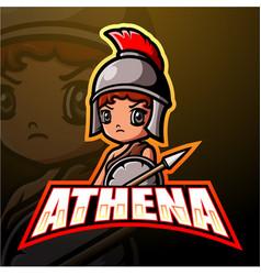 Athena mascot esport logo design vector