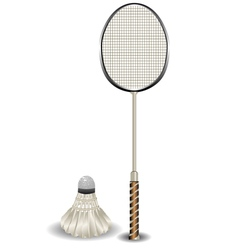 badminton racket and shuttlecock vector image