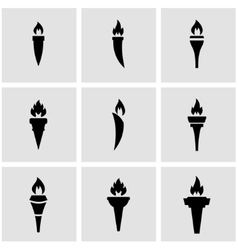black torch icon set vector image
