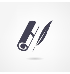 Blank scroll and quill pen on white background vector