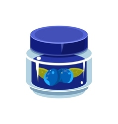 Blueberry Jam In Transparent Jar vector image