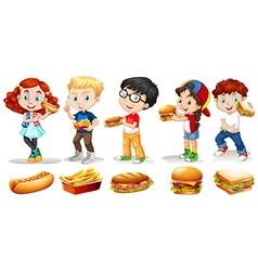 Boys and girls eating fastfood vector