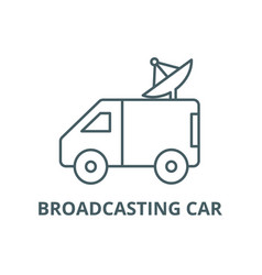 broadcasting car with satellite dish line icon vector image