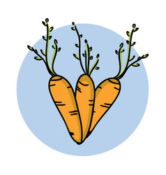 carrot hand drawn icon cartoon vegetable healthy vector image