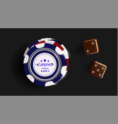 casino chips and dice isolated on black background vector image