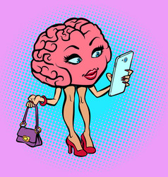 Character brain woman with a smartphone vector