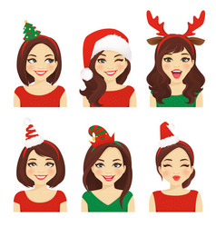 Christmas emotions woman vector