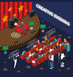 Creative evening isometric composition vector