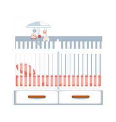 Crib with drawers and hanging rattle isolated vector