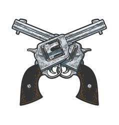 crossed cowboy revolvers sketch vector image