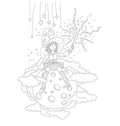 cute hand draw coloring page with fairy girl who vector image