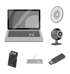 design of laptop and device icon set of vector image