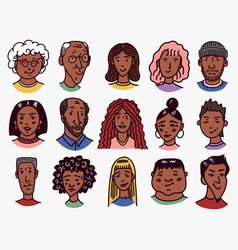Diverse faces african and latin american people vector