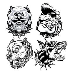 dog head pitbull logo mascot annimal drawing vector image
