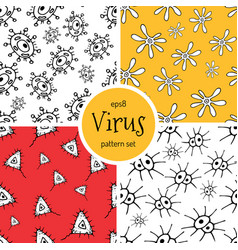 doodle bacteria pattern vector image
