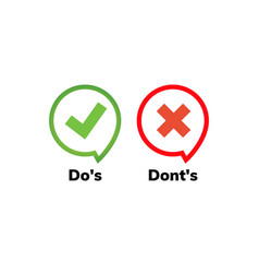 Dos and dont good and bad icon check negative vector