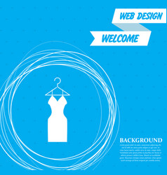 dress icon on a blue background with abstract vector image