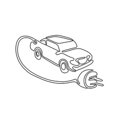Electric vehicle charging continuous line vector