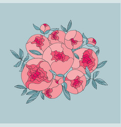 elegant modern peony flower bouquet vector image