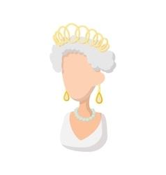Elizabeth II British Queen icon cartoon style vector
