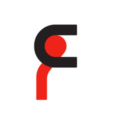 english font upper case letter f f logo logotype - vector image