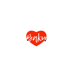 european capital city baku love heart text logo vector image