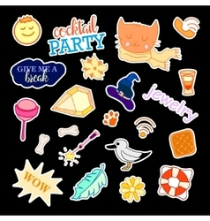 Fashion patch badges with different elements Set vector