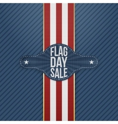 Flag Day Sale realistic Tag with Ribbon and Shadow vector image