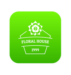 flower house icon green vector image