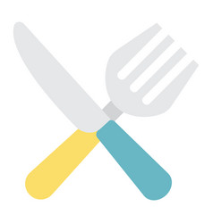 fork and knife flat icon dinner and restaurant vector image