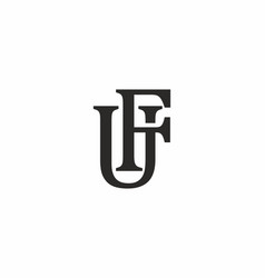 fu or uf initial letter logo vector image