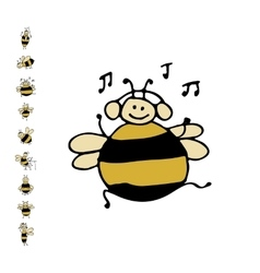Funny dance bee sketch for your design vector